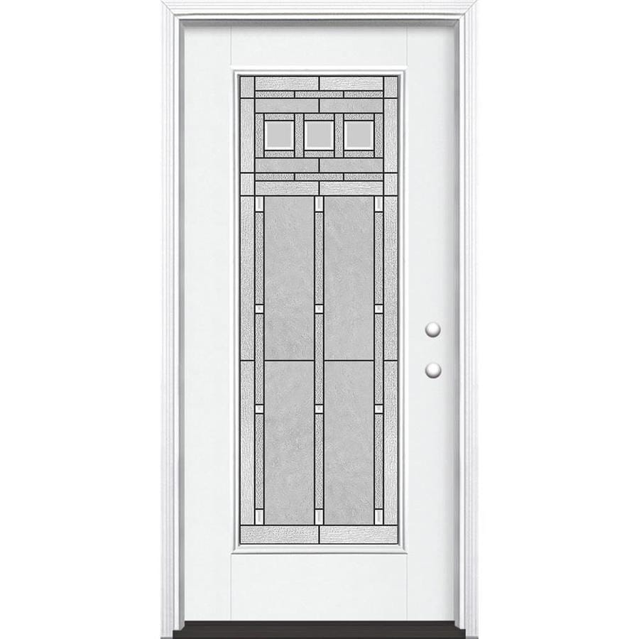 Masonite Craftsman Glass Flush Insulating Core Full Lite Left-Hand Inswing Artic White Fiberglass Painted Prehung Entry Door (Common: 36-in x 80-in; Actual: 37.5-in x 81.5-in)