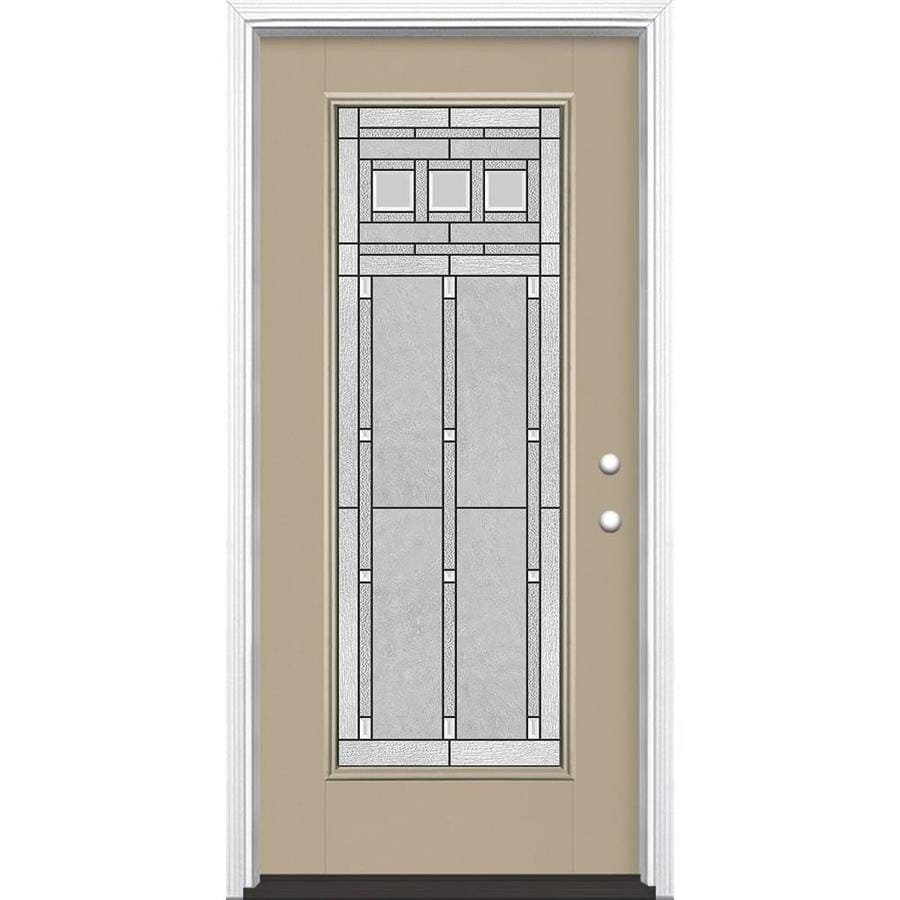 Masonite Craftsman Glass Flush Insulating Core Full Lite Left-Hand Inswing Sandy Shore Fiberglass Painted Prehung Entry Door (Common: 36-in x 80-in; Actual: 37.5-in x 81.5-in)