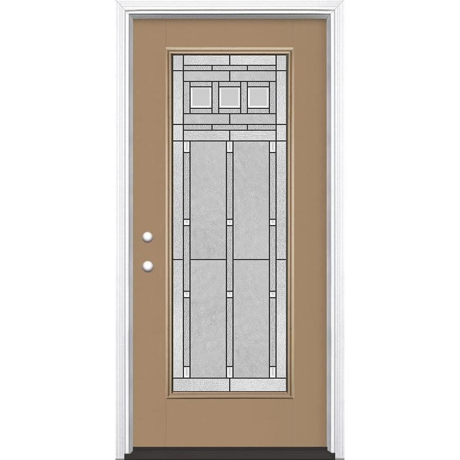 Shop masonite right hand inswing warm wheat painted for Exterior door insulation
