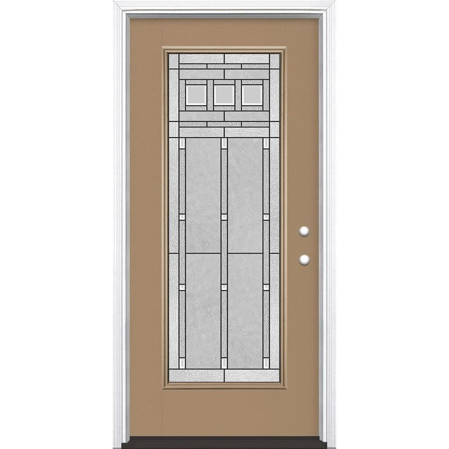 Masonite Craftsman Glass Flush Insulating Core Full Lite Left-Hand Inswing Warm Wheat Fiberglass Painted Prehung Entry Door (Common: 36-in x 80-in; Actual: 37.5-in x 81.5-in)