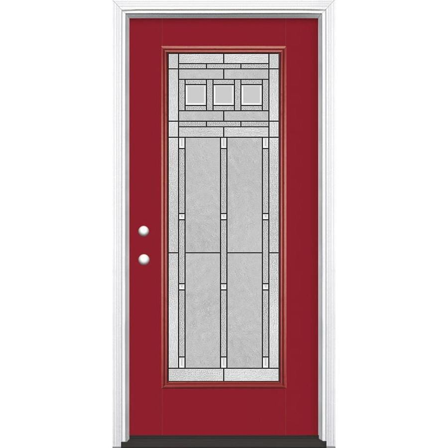 Masonite Craftsman Glass Flush Insulating Core Full Lite Right-Hand Inswing Roma Red Fiberglass Painted Prehung Entry Door (Common: 36-in x 80-in; Actual: 37.5-in x 81.5-in)