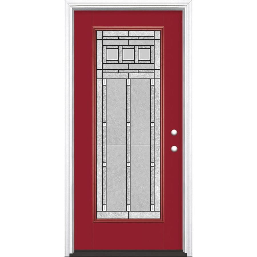 Masonite Craftsman Decorative Glass Left Hand Inswing Roma Red Fiberglass  Painted Entry Door (Common