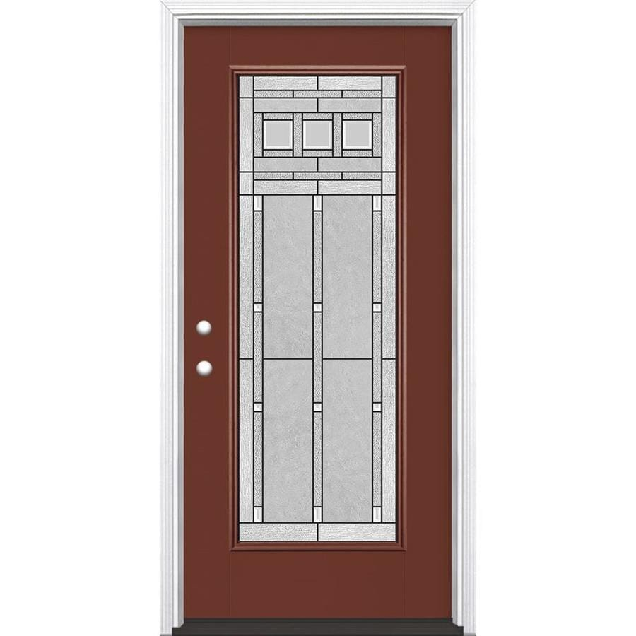 Masonite Craftsman Decorative Glass Right-Hand Inswing Fox Tail Fiberglass Painted Entry Door (Common: 36-in x 80-in; Actual: 37.5-in x 81.5-in)