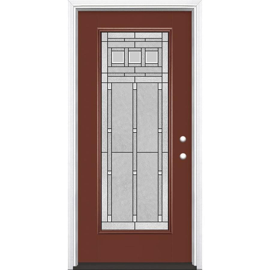 Masonite Craftsman Decorative Glass Left-Hand Inswing Fox Tail Painted Fiberglass Prehung Entry Door with Insulating Core (Common: 36-in x 80-in; Actual: 37.5-in x 81.625-in)