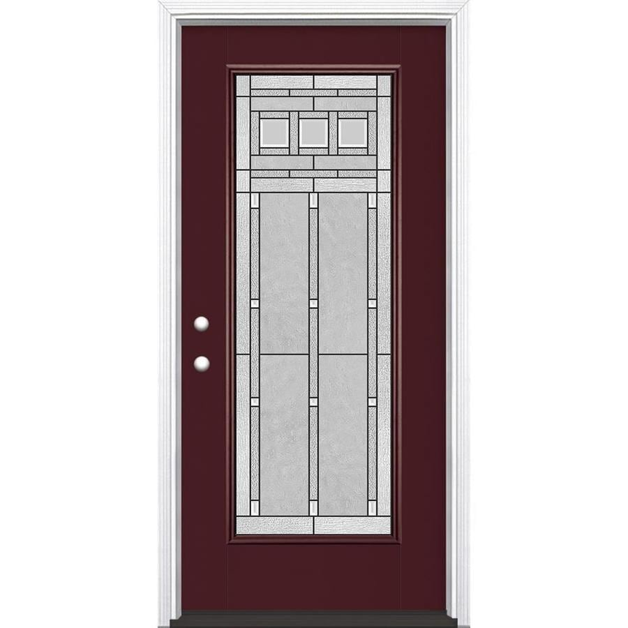 Shop masonite craftsman decorative glass right hand for Glass entry doors for home