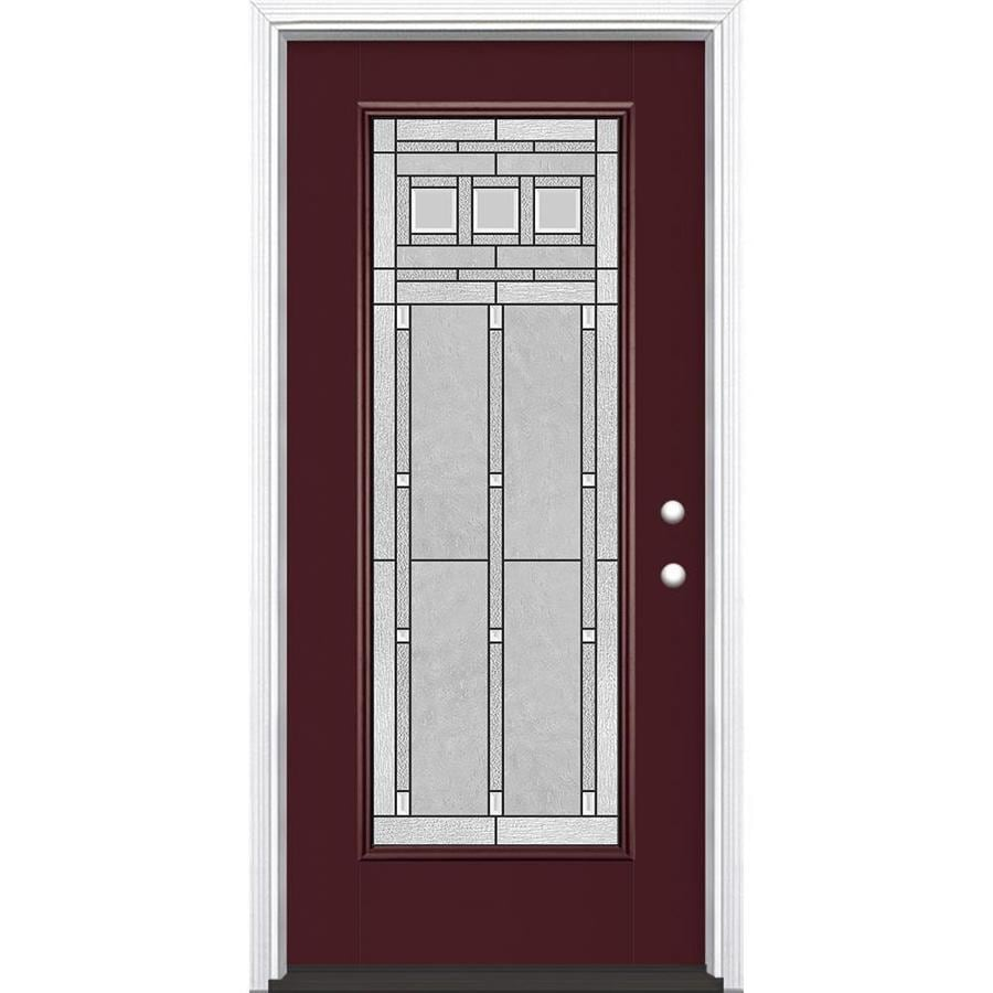 Masonite Craftsman Glass Flush Insulating Core Full Lite Left-Hand Inswing Currant Fiberglass Painted Prehung Entry Door (Common: 36-in x 80-in; Actual: 37.5-in x 81.5-in)