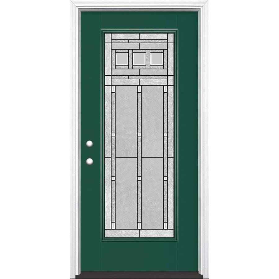 Masonite Craftsman Glass Flush Insulating Core Full Lite Right-Hand Inswing Evergreen Fiberglass Painted Prehung Entry Door (Common: 36-in x 80-in; Actual: 37.5-in x 81.5-in)