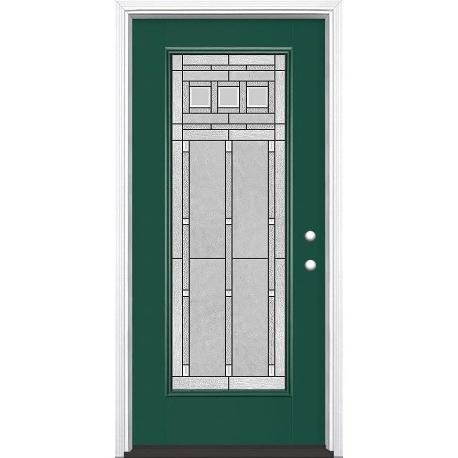 Masonite Craftsman Glass Flush Insulating Core Full Lite Left-Hand Inswing Evergreen Fiberglass Painted Prehung Entry Door (Common: 36-in x 80-in; Actual: 37.5-in x 81.5-in)