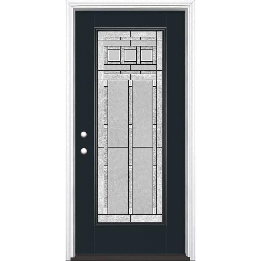 Masonite Craftsman Glass Flush Insulating Core Full Lite Right-Hand Inswing Eclipse Fiberglass Painted Prehung Entry Door (Common: 36-in x 80-in; Actual: 37.5-in x 81.5-in)