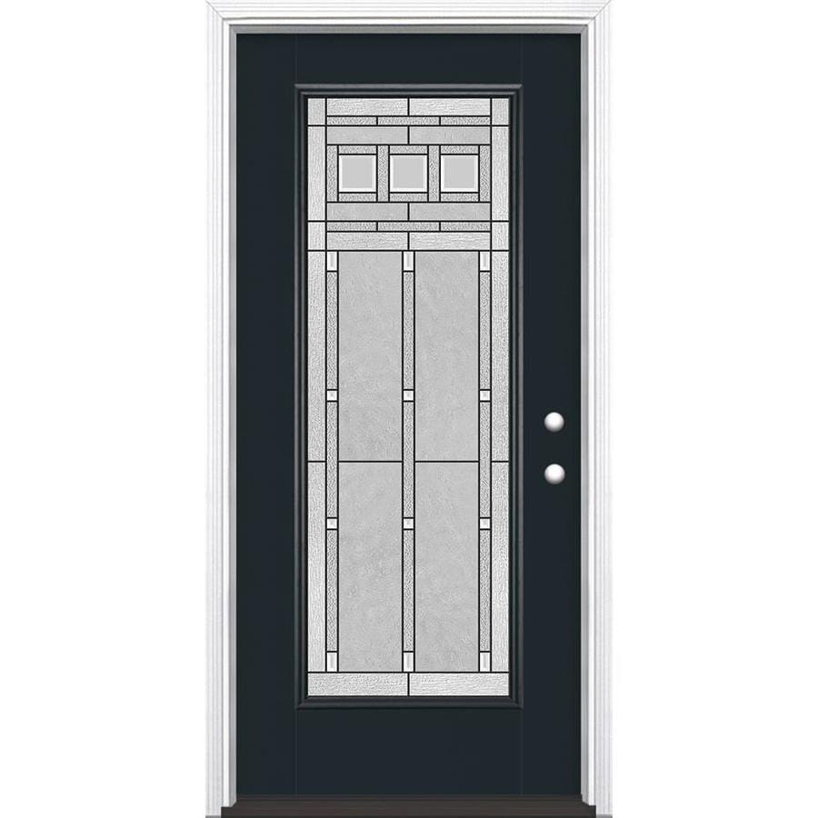 Masonite Craftsman Glass Flush Insulating Core Full Lite Left-Hand Inswing Eclipse Fiberglass Painted Prehung Entry Door (Common: 36-in x 80-in; Actual: 37.5-in x 81.5-in)