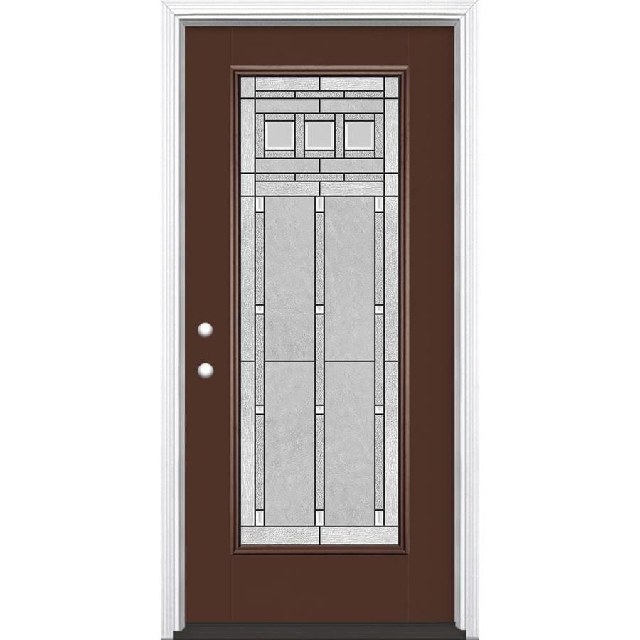 Masonite Craftsman Decorative Glass Right-Hand Inswing Chocolate Fiberglass Painted Entry Door (Common: 36-in x 80-in; Actual: 37.5-in x 81.5-in)