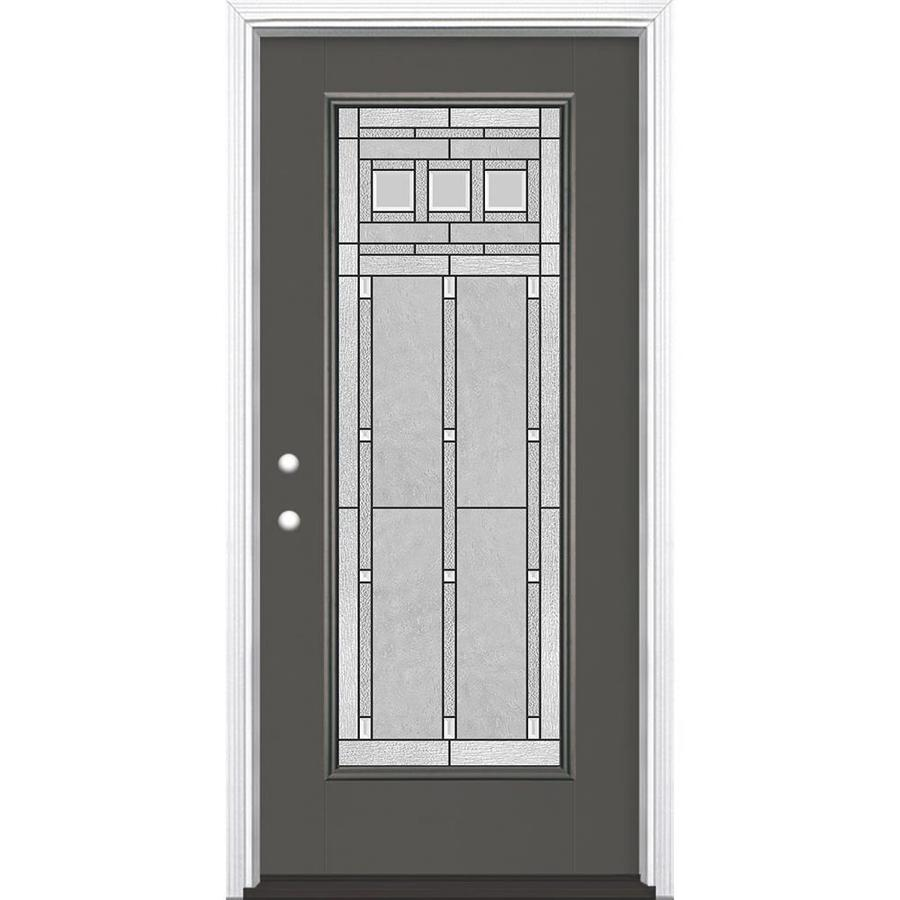 Masonite Craftsman Glass Flush Insulating Core Full Lite Right-Hand Inswing Timber Gray Fiberglass Painted Prehung Entry Door (Common: 36-in x 80-in; Actual: 37.5-in x 81.5-in)