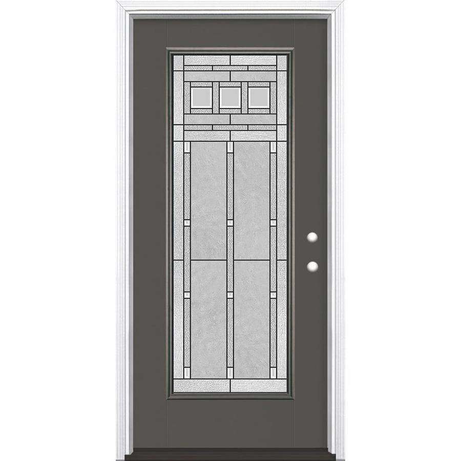 Masonite Craftsman Glass Flush Insulating Core Full Lite Left-Hand Inswing Timber Gray Fiberglass Painted Prehung Entry Door (Common: 36-in x 80-in; Actual: 37.5-in x 81.5-in)