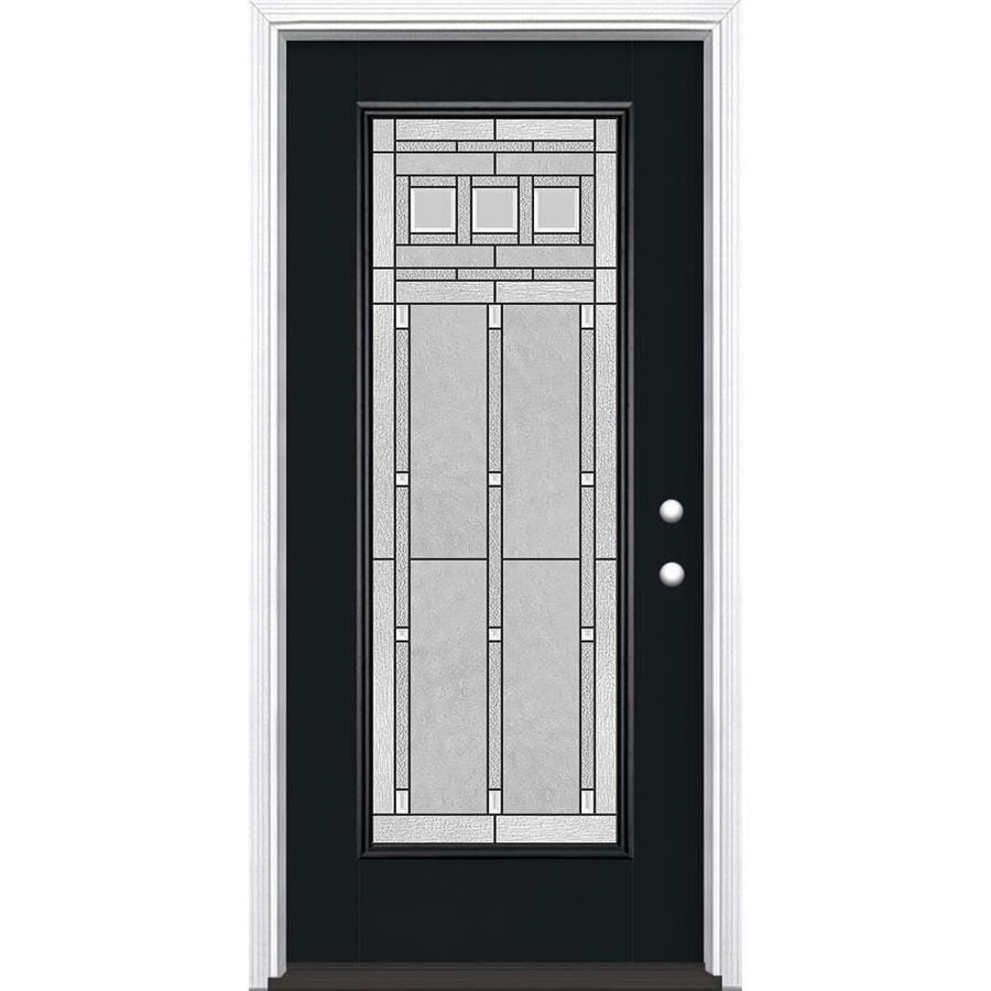Masonite Craftsman Full Lite Decorative Glass Left-Hand Inswing Peppercorn Painted Fiberglass Prehung Entry Door Insulating Core (Common: 36-in X 80-in; Actual: 37.5-in x 81.625-in)