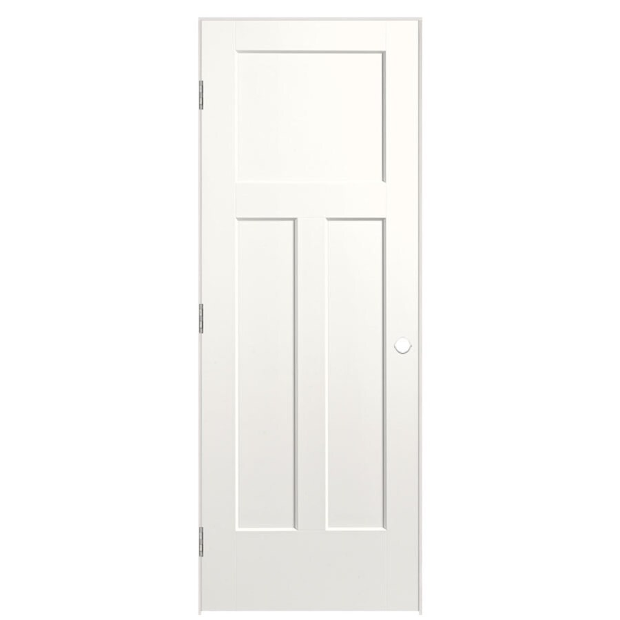 Masonite Winslow Snow Storm 3-panel Craftsman Single Prehung Interior Door (Common: 30-in x 80-in; Actual: 31.5-in x 81.5-in)