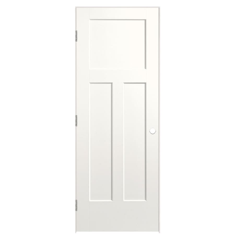 Masonite Winslow Snow Storm 3-panel Craftsman Single Prehung Interior Door (Common: 32-in x 80-in; Actual: 33.5-in x 81.5-in)