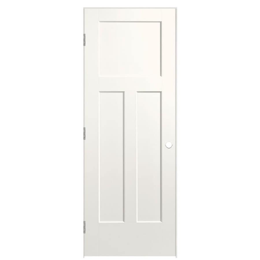 Masonite Winslow White Prehung Hollow Core 3-Panel Craftsman Interior Door (Common: 24-in x 80-in; Actual: 25.5-in x 81.5-in)