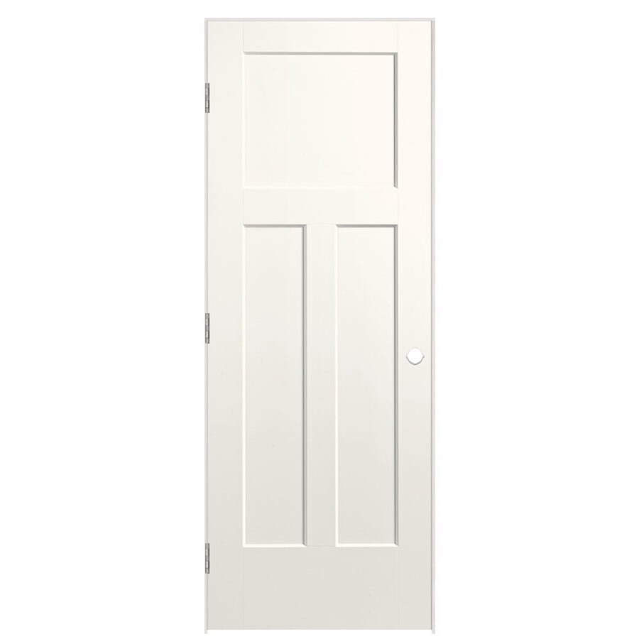 Shop Masonite Winslow White 3 Panel Craftsman Single Prehung Interior Door Common 28 In X 80