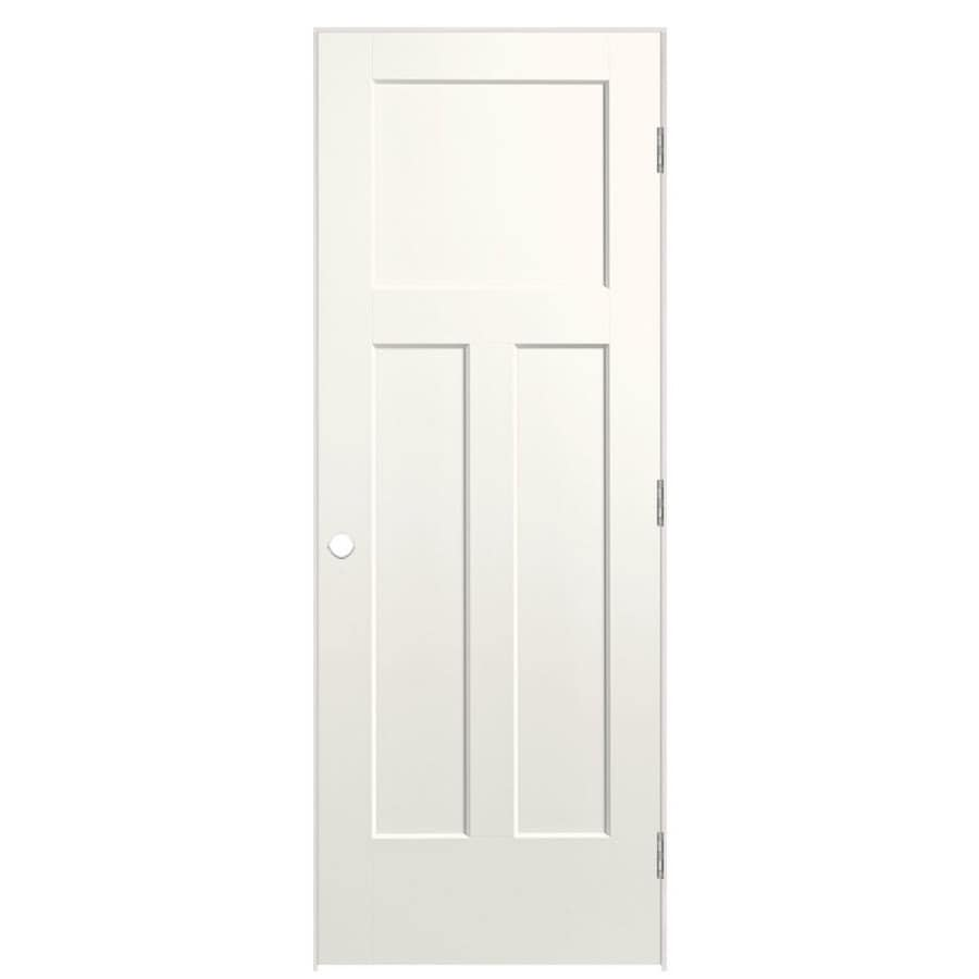 Masonite Winslow White Prehung Hollow Core 3-Panel Craftsman Interior Door (Common: 28-in x 80-in; Actual: 29.5-in x 81.5-in)
