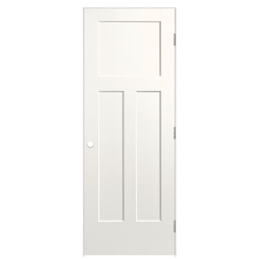 Masonite Winslow White 3-panel Craftsman Single Prehung Interior Door (Common: 36-in X 80-in; Actual: 37.5-in x 81.5-in)