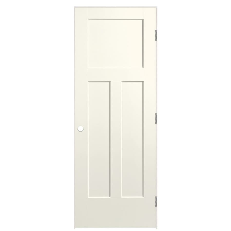 Masonite Winslow Moonglow 3-panel Craftsman Single Prehung Interior Door (Common: 24-in X 80-in; Actual: 25.5-in x 81.5-in)