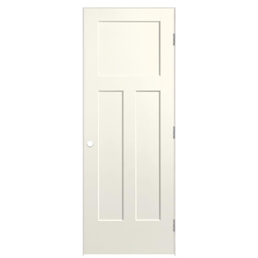 Shop Masonite Winslow Moonglow 3 Panel Craftsman Single Prehung Interior Door Common 30 In X