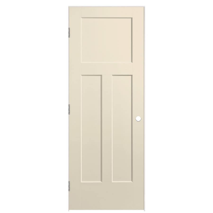 Masonite Winslow Cream-n-sugar 3-panel Craftsman Single Prehung Interior Door (Common: 24-in X 80-in; Actual: 25.5-in x 81.5-in)