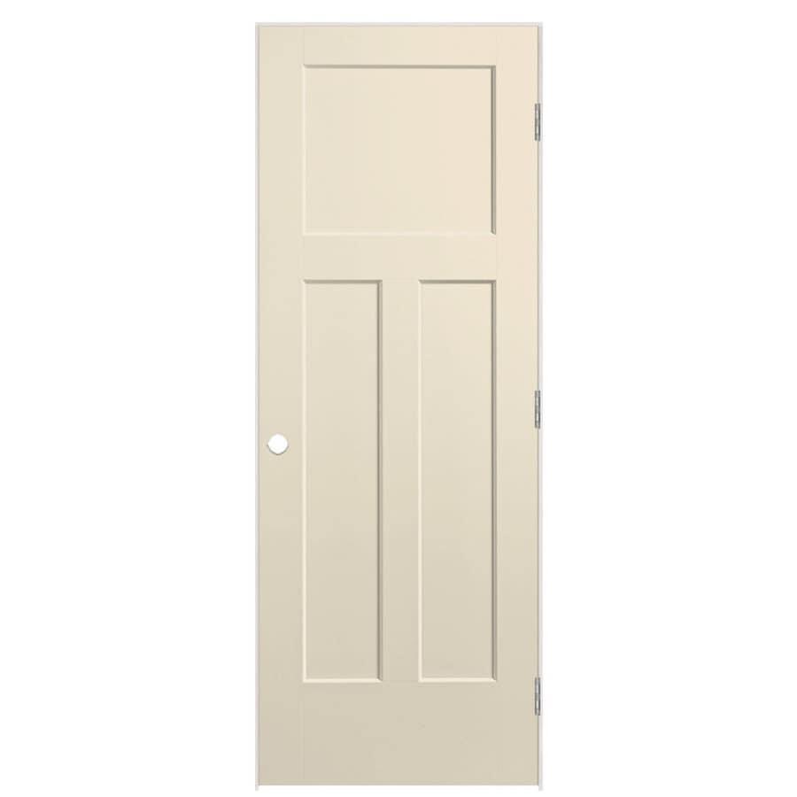 Masonite Winslow Cream-n-sugar 3-panel Craftsman Single Prehung Interior Door (Common: 24-in X 80-in; Actual: 81.5-in x 25.5-in)