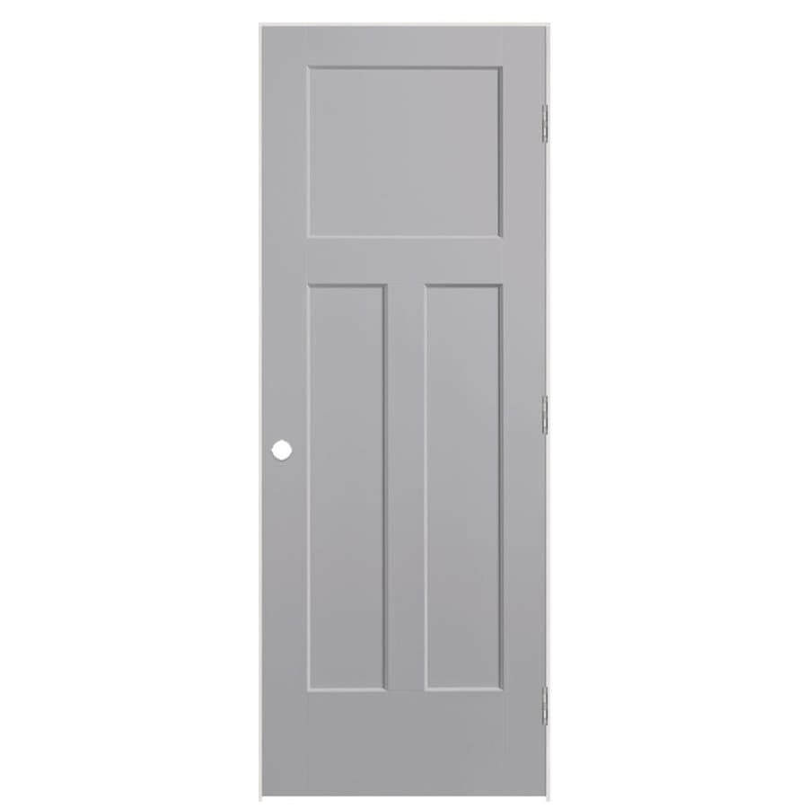 Masonite Winslow Driftwood 3-panel Craftsman Single Prehung Interior Door (Common: 24-in X 80-in; Actual: 25.5-in x 81.5-in)