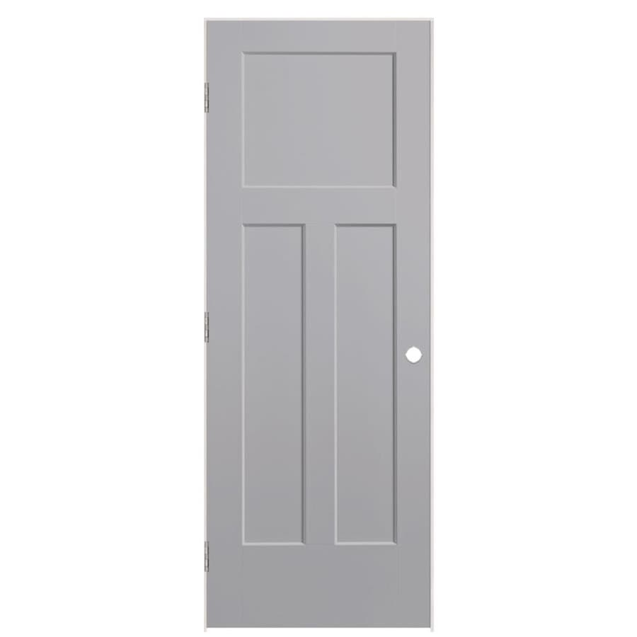 Shop masonite winslow driftwood 3 panel craftsman single for Www masonite com interior doors