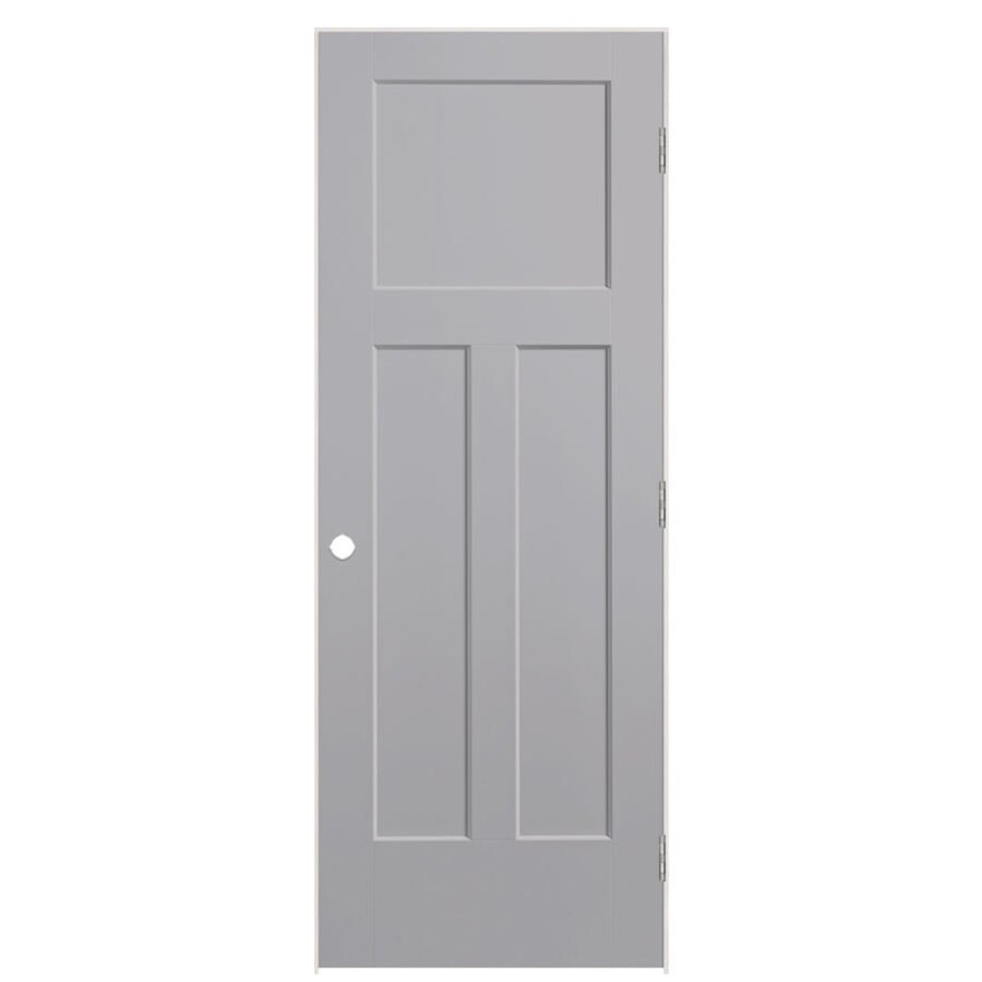 Masonite Winslow Driftwood 3-panel Craftsman Single Prehung Interior Door (Common: 32-in X 80-in; Actual: 33.5-in x 81.5-in)