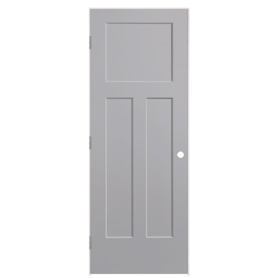 Shop Masonite Winslow Driftwood 3 Panel Craftsman Single Prehung Interior Door Common 36 In X