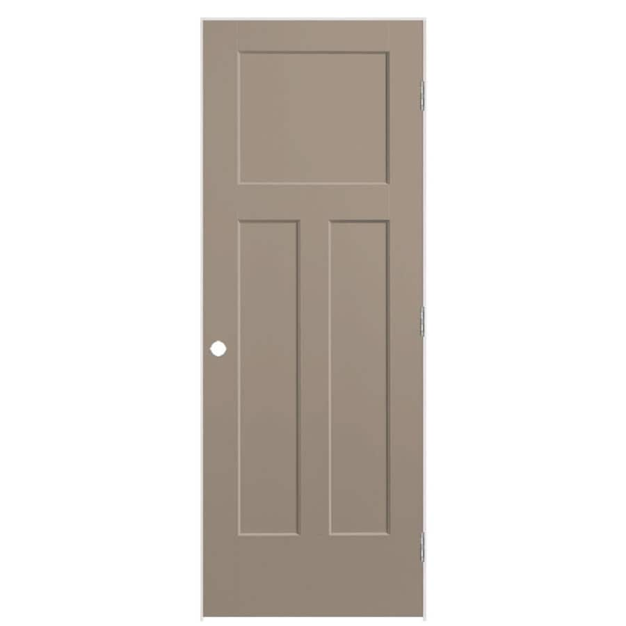 Shop Masonite Winslow Sand Piper 3 Panel Craftsman Single Prehung Interior Door Common 28 In X
