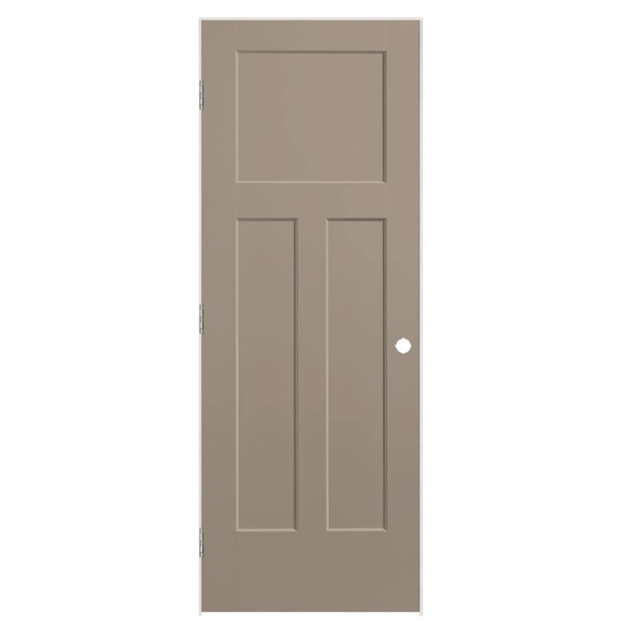 Shop Masonite Winslow Sand Piper 3 Panel Craftsman Single Prehung Interior Door Common 30 In X