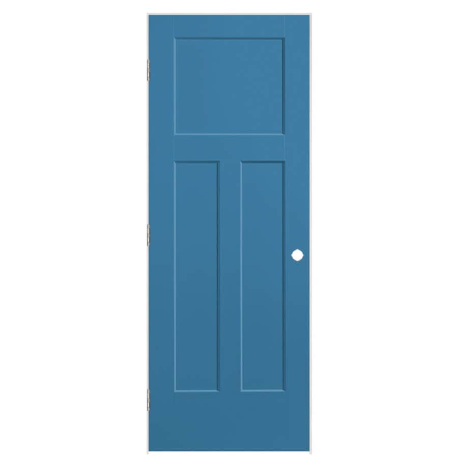 Masonite Winslow Blue Heron 3-panel Craftsman Single Prehung Interior Door (Common: 24-in x 80-in; Actual: 25.5-in x 81.5-in)