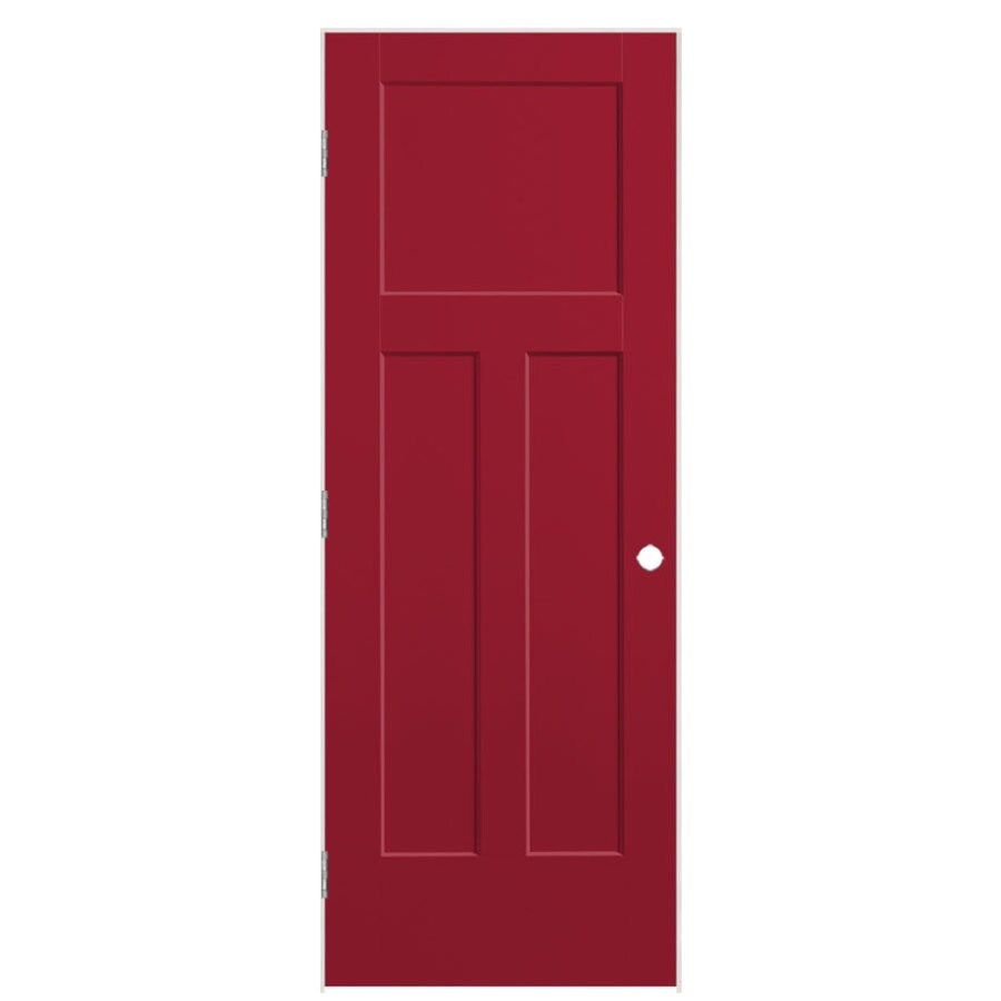 Masonite Winslow Barn Red 3-panel Craftsman Single Prehung Interior Door (Common: 24-in X 80-in; Actual: 25.5-in x 81.5-in)