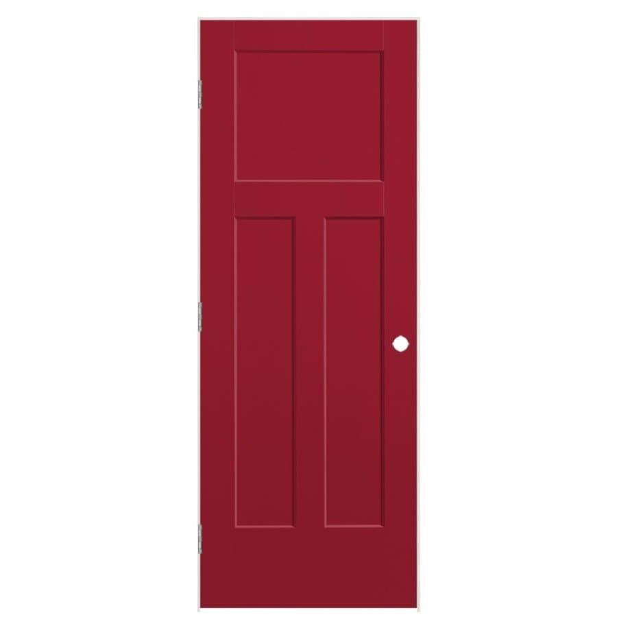 Masonite Winslow Barn Red Prehung Hollow Core 3-Panel Craftsman Interior Door (Common: 28-in x 80-in; Actual: 29.5-in x 81.5-in)