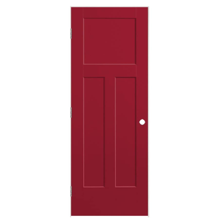 Masonite Winslow Barn Red Prehung Hollow Core 3-Panel Craftsman Interior Door (Common: 32-in x 80-in; Actual: 33.5-in x 81.5-in)