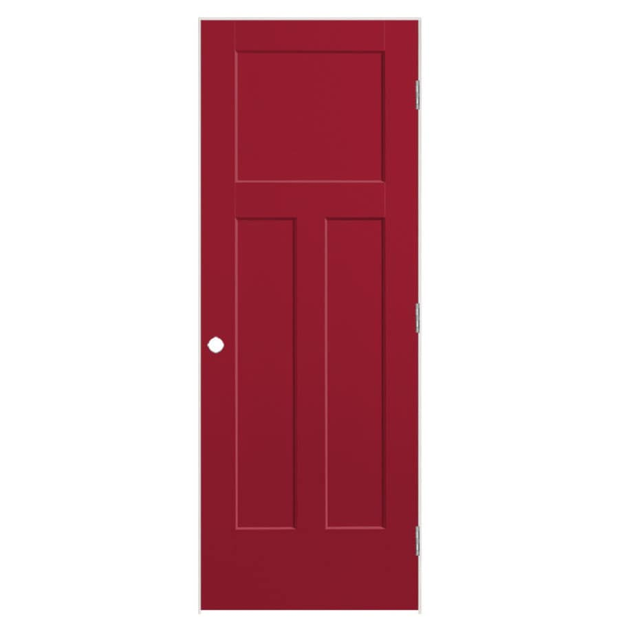 Masonite Winslow Barn Red 3-panel Craftsman Single Prehung Interior Door (Common: 36-in X 80-in; Actual: 37.5-in x 81.5-in)