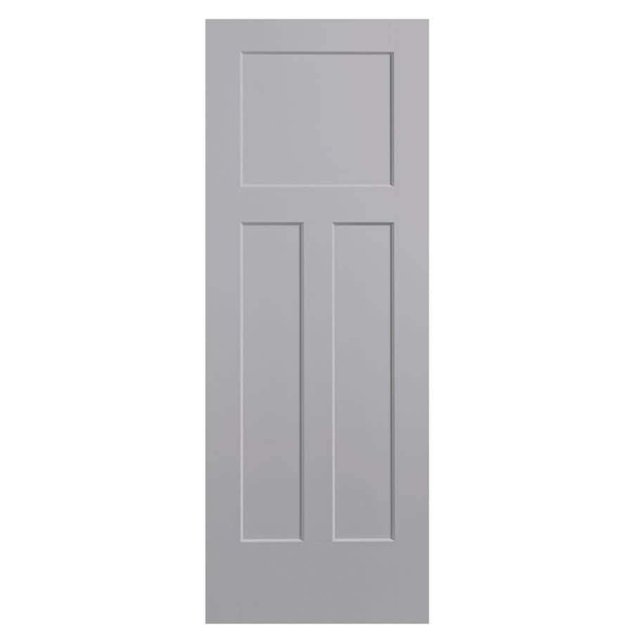 Masonite Winslow Driftwood 3-panel Craftsman Slab Interior Door (Common: 30-in X 80-in; Actual: 31.5-in x 81.5-in)