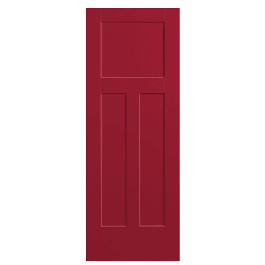 Masonite Winslow Barn Red 3-panel Craftsman Slab Interior Door (Common: 24-in x 80-in; Actual: 25.5-in x 81.5-in)