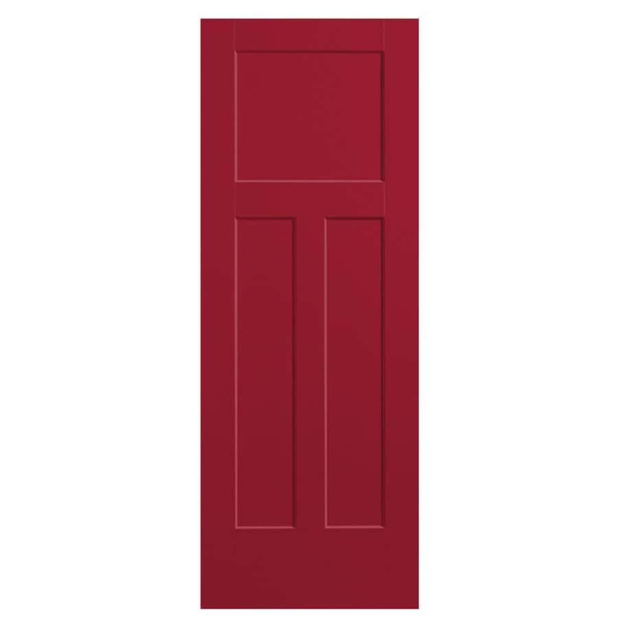 Masonite Winslow Barn Red Hollow Core 3-Panel Craftsman Slab Interior Door (Common: 28-in x 80-in; Actual: 29.5-in x 81.5-in)