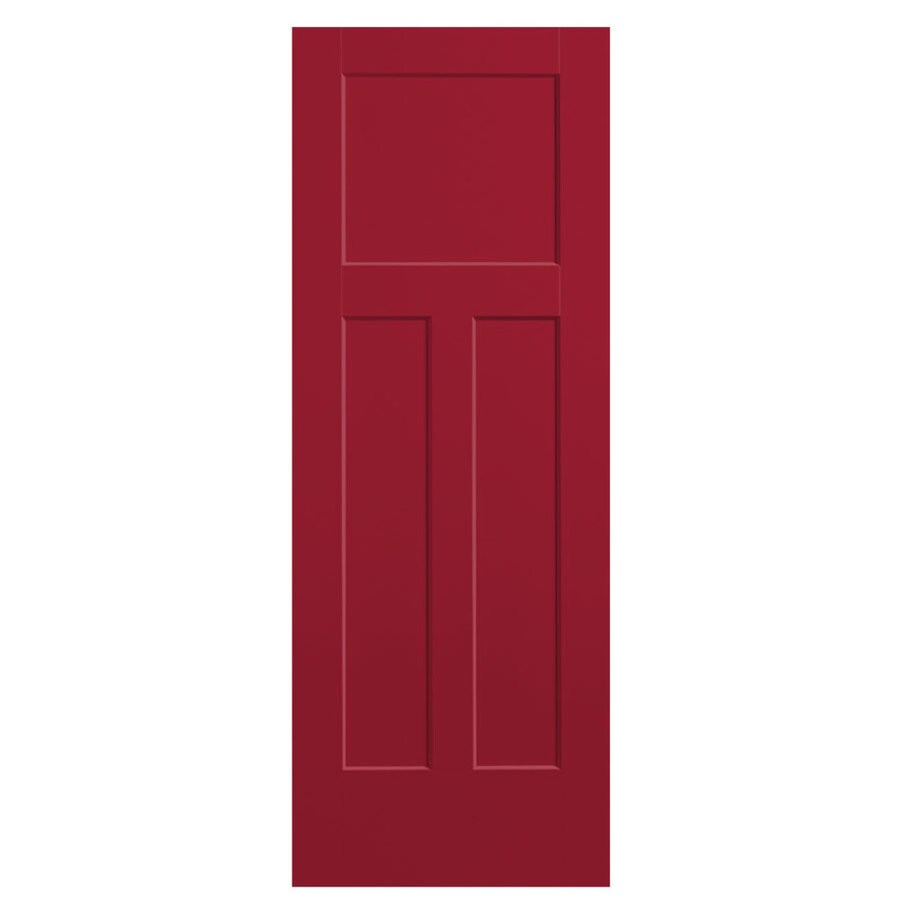 Shop Masonite Winslow Barn Red 3 Panel Craftsman Slab Interior Door Common 32 In X 80 In