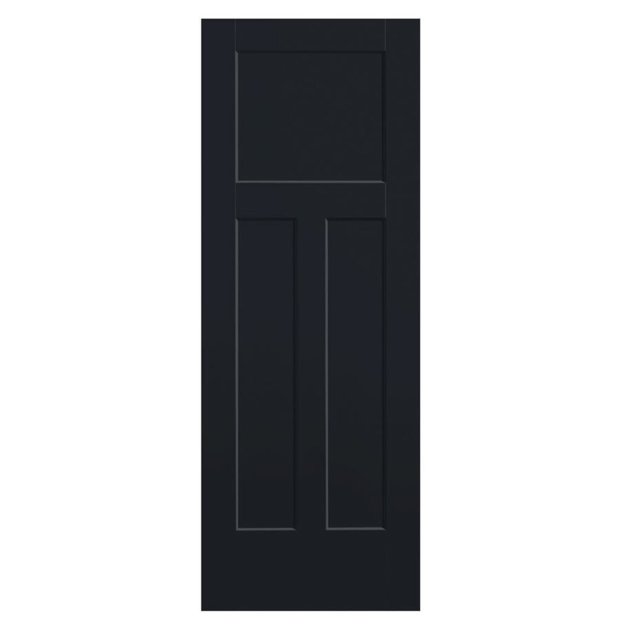 Masonite Winslow Midnight 3-panel Craftsman Slab Interior Door (Common: 32-in X 80-in; Actual: 33.5-in x 81.5-in)