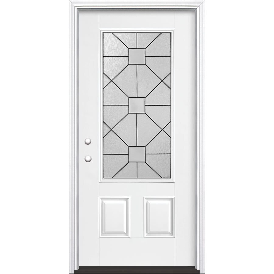 Masonite Hancock 2-Panel Insulating Core 3/4 Lite Right-Hand Inswing Artic White Fiberglass Painted Prehung Entry Door (Common: 36-in x 80-in; Actual: 37.5-in x 81.5-in)