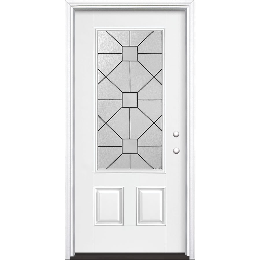 Masonite Hancock 2-Panel Insulating Core 3/4 Lite Left-Hand Inswing Artic White Fiberglass Painted Prehung Entry Door (Common: 36-in x 80-in; Actual: 37.5-in x 81.5-in)