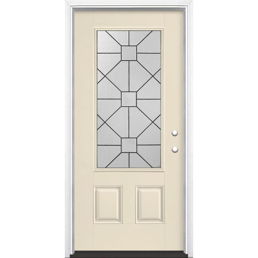 Masonite Hancock Decorative Glass Left-Hand Inswing Bisque Painted Fiberglass Prehung Entry Door with Insulating Core (Common: 36-in x 80-in; Actual: 37.5-in x 81.625-in)