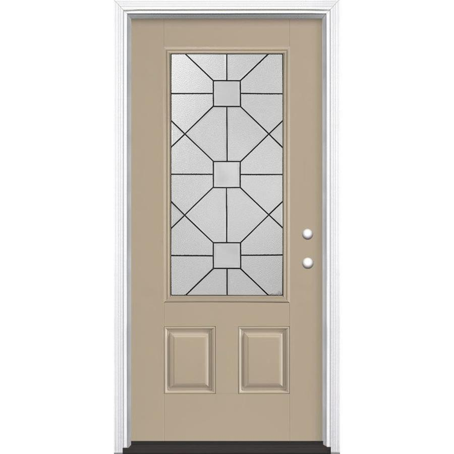 Masonite Hancock 2-Panel Insulating Core 3/4 Lite Left-Hand Inswing Sandy Shore Fiberglass Painted Prehung Entry Door (Common: 36-in x 80-in; Actual: 37.5-in x 81.5-in)