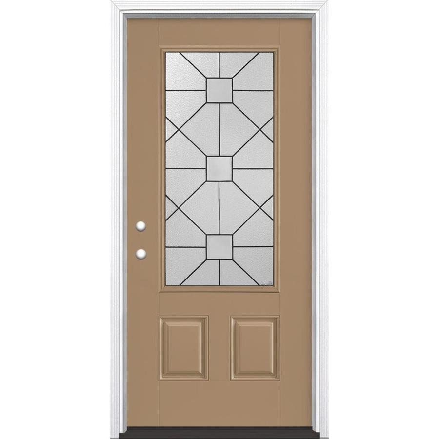 Masonite Hancock Decorative Glass Right-Hand Inswing Warm Wheat Painted Fiberglass Prehung Entry Door with Insulating Core (Common: 36-in x 80-in; Actual: 37.5-in x 81.625-in)