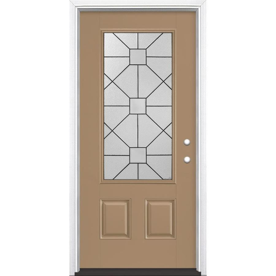 Masonite Hancock Decorative Glass Left-Hand Inswing Warm Wheat Painted Fiberglass Prehung Entry Door with Insulating Core (Common: 36-in x 80-in; Actual: 37.5-in x 81.625-in)